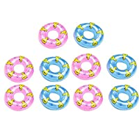 Beaulies 5/10 Pack Mini Swim Ring, Summer Fun Swimming Pool Float Raft Lifebuoy PVC Inflatable Ducks for Children Kids Pretended Play Toys Accessories(Color Random) Pretended (10pcs)