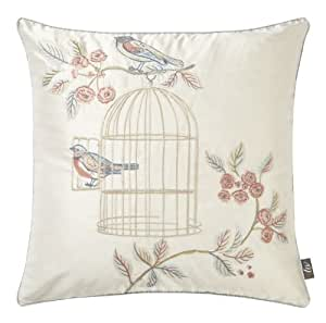 Vintage Shabby Chic iLiv Song Bird Embroidered Feather Filled Cushion, Cream / Duck Egg - 45 x 45cms