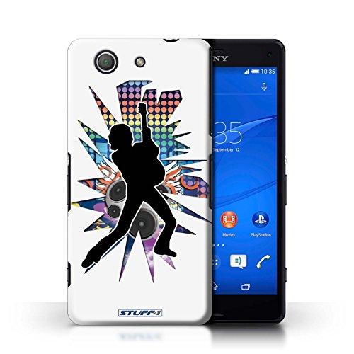 Kobalt® Imprimé Etui / Coque pour Sony Xperia Z3 Compact / Windmill Noir conception / Série Rock Star Pose Pencher Blanc
