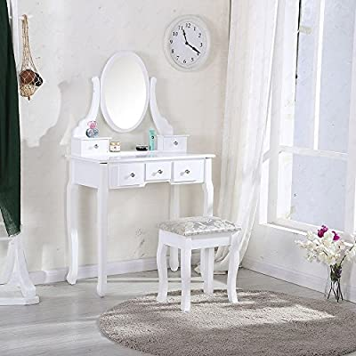 White Dressing Table Makeup Desk dresser with Stool, 5 Drawers and Oval Mirror Bedroom furniture - inexpensive UK dressing table store.