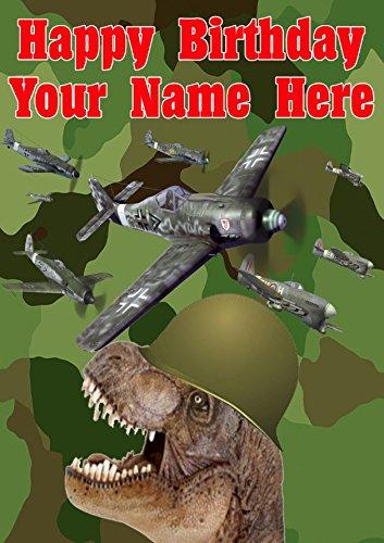 T Rex Dinosaurier j196Military Army Planes Fun Cute Happy Birthday A5personalisierbar Grußkarte geschrieben von uns Geschenke für alle 2016von Derbyshire UK (Trex-arme)