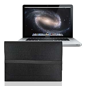"""kwmobile Housse pour ordinateur portable feutre sleeve pour Apple MacBook Pro 15"""" / MacBook Pro Retina 15"""" - housse de protection étui pour ordinateur portable en noir avec compartiments internes"""