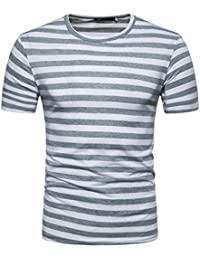 Homebaby Camicia Uomo Elegante Maglietta Manica Corta Casual A Strisce - T-Shirt Uomo Sportivi Vintage Cotone Stretch Maglione Uomo Tumblr Estiva Particolari Magliette Corte