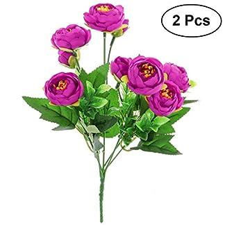 TOYANDONA 2pcs Flores Artificiales de Camelia Ramo de Plantas Falsas Paquete para para la Boda de la decoración del hogar (púrpura)