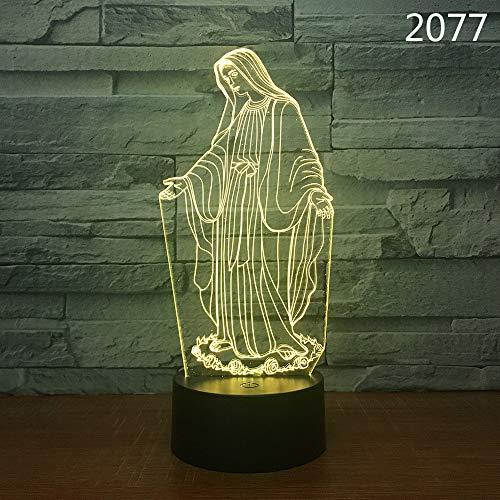 Vitila Illusion Des Nachtlicht-Led 3D Beleuchtet Madonna-Umgebungslicht-Nachttischlampe-Buntes Änderungs-Kreatives Geschenk, Schwarze Unterseite: Bunte Note + Fernbedienung