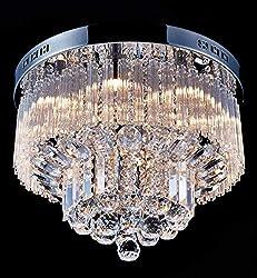 Saint Mossi Modern K9 Crystal Raindrop Chandelier Lighting Flush Mount LED Ceiling Light Fixture Pendant Lamp for Dining Room Bathroom Bedroom Livingroom Width 45.7 x Height 30.5 cm