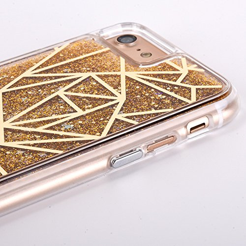 Voguecase® für Apple iPhone 7 4.7 Hülle, Flüssig Fließende Sparkly Bling Glitzer Treibsand Quicksand (Harte Rückseite) Hybrid Hülle Schutzhülle Case Cover (Plating Treibsand/Gitter/Gold) + Gratis Univ Plating Treibsand/Gitter/Gold