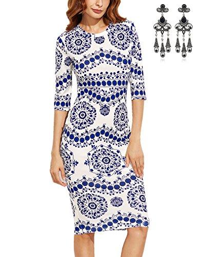 MODETREND Damen Kleider Bleistiftrock mit Porzellan Drucken und 1/2 Ärmel Paket Hüfte Abendkleid Cocktailkleid Partykleid Sommerkleid Kleid Blau