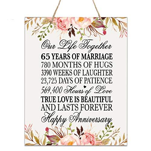 LifeSong Gedenktafel zum 65. Jahrestag der Hochzeit, mit Blumenmuster 12x15 Floral Rope Sign (Gedenktafel An Der Hochzeit)