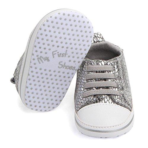 BZLine® Soft Mesh Chaussures au lacet, Semelle en tissu, Anti-glissant pour Bébés 0-18Mois Argent