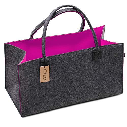G'FELT Filztasche Premium - als hochwertige Einkaufstasche, schicke Freizeit-Tasche oder Badetasche, Zeitungskorb, Filzkorb, Einkaufskorb, stabile Kaminholztasche - zweifarbig grau und pink