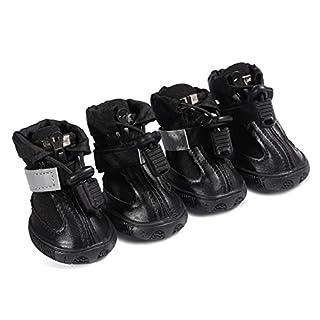 Neue Pet Schuhe Hund Wanderschuhe Pet Produkte Gummisohle rutschfeste Tragbare Blau und Schwarz (4 stücke) , black , 1