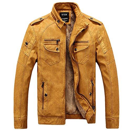 Herren Klassische Herbst Winter Warm Bomber Dicke Retro Vintage Gewaschen Leder Biker Motorrad Jacken Mäntel Lederjacke jacket (Gelb, DE XL(Tag 2XL))