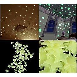 100Pzas Luminoso pegatinas de pared Estrellas Luminosas Pegatina Pared Fluorescente Brilla Oscuridad PVC