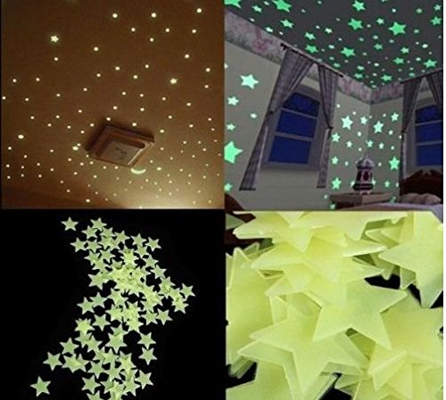 100Pzas Luminoso pegatinas de pared Estrellas Luminosas Pegatina Pared Fluorescente Brilla Oscuridad...