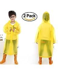 HiperSpeed 2-Pack Réutilisable Enfants Pluie Poncho Avec Capuche Et Manches Pour Les 6-12 Ans (Jaune)
