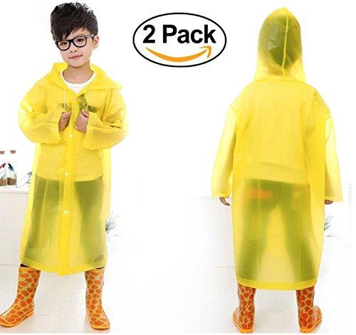 2-Pack Wiederverwendbare Kinder Regen Poncho Mit Kapuze Und Ärmel Für Altersgruppen 6-12 (Gelb)