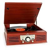 auna TT-92W • tourne-disque • platine vinyle • haut-parleurs stéréo intégrés • entraînement par courroie • port USB et SD • lecture et enregistrement au format MP3 • télécommande • AUX-IN • marron