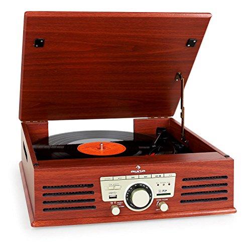 auna TT-92B Plattenspieler Schallplattenspieler (USB-SD-Slot, AUX-IN, UKW Radio, Stereo-Lautsprecher, Holzfurnier) braun