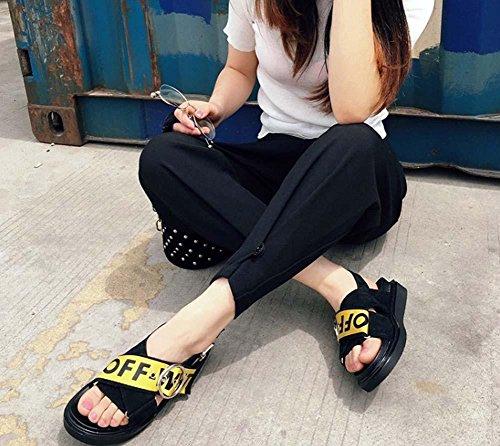 Sandali per le donne Ascensore Giallo Tessuto Satin Belt Doppio Bottom Casual Scarpe Black