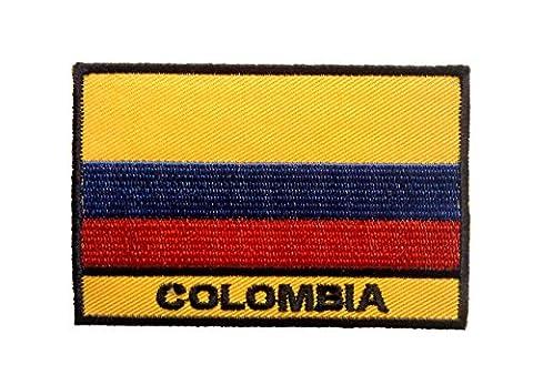 Ecusson - Colombie drapeau bannière - jaune - 5,6x8,3cm - patches brode appliques embroidery thermocollant