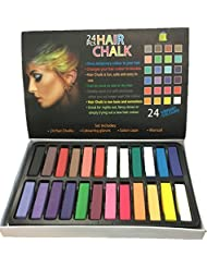 24 Piece Hair Chalk Vibrant Colours Temporary Hair Dye Gloves & Cape Included