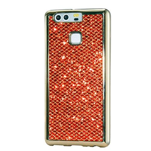 Custodia Huawei P9, KSHOP Case Cover per Huawei P9, Shiny Sparkly Bling Bling Glitter Conchiglia Caso Guscio Sottile TPU Silicone Gel Rosso [Shock-Absorption] Protettiva Ultra Sottile Cover Custodia Placcatura Bumper d'oro