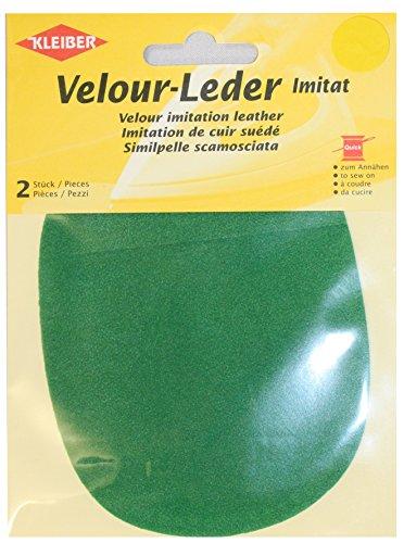 Kleiber 12,5 x 10 cm Ovaler Knie-/Ellbogenflicken aus Velours-Lederimitat zum Annähen, grün (Grüne Velour Hose)