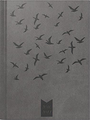 Brunnen 107295717 Schülerkalender/Schüler-Tagebuch (2 Seiten = 1 Woche, 12x16cm (A6), Kunstleder-Einband wattiert Vögel, Kalendarium 2016/2017) grau -