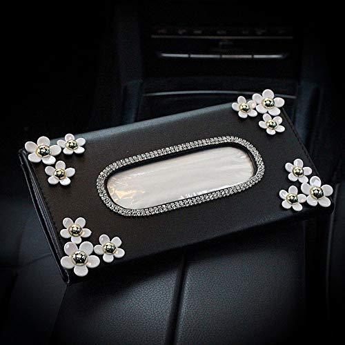 Ruixinshi Cute Flower Crystal Leder Sonnenblende Gewebe, Strass Papier Halter Sonnenschirm Serviette Haning für Auto Zubehör, schwarz Crystal Papier