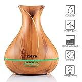 CMYK Aroma Diffuser 400ml, Holzmaserung Ultraschall Öl Diffusor Elektrische Duftlampe Luftbefeuchter Automatisch mit 14 Wechselfarben für Baby Zimmer, Yoga, Spa