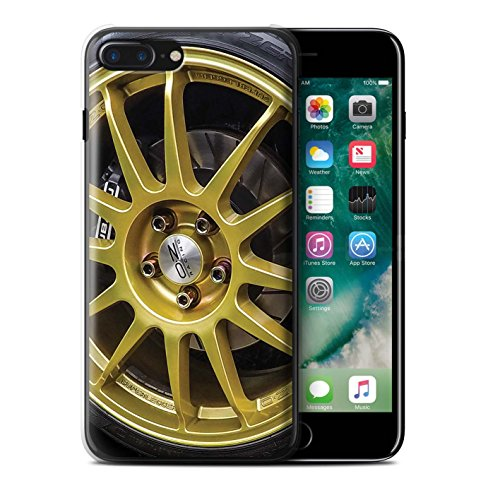 Stuff4 Hülle / Case für Apple iPhone 7 Plus / Rosa/Lila Muster / Leichtmetallfelgen Kollektion Gold/Schwarz