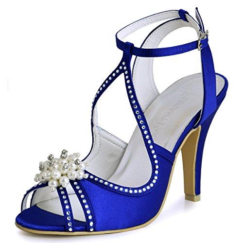 Elegantpark EP11058 Bout Ouvert Satin Perle Strass Aiguille Talon Pumps Femme Sandales Chaussures de Mariage Bleu