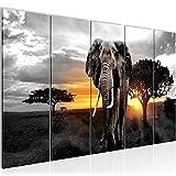 Bilder Afrika Elefant Wandbild 200 x 80 cm - 5 Teilig Vlies - Leinwand Bild XXL Format Wandbilder Wohnzimmer Wohnung Deko Kunstdrucke Gelb Grau - MADE IN GERMANY - Fertig zum Aufhängen 001255c