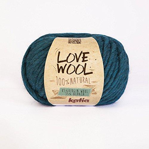 Katia Wolle mit Aufschrift Love #118 türkis super chunky 12-15mm Nadeln 85% Wolle 15% alpaca 100 G Knäuel -
