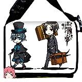 """MiracleL, borsa a tracolla stile """"messenger"""", in tela, motivo anime nero Black Butler 40cmx21cmx12cm"""