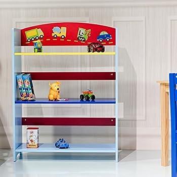 COSTWAY Children Bookcase Kids Toy Storage Shelf Book Rack Multicolor Playroom Bookshelf Organizer 3 Tier Color 1