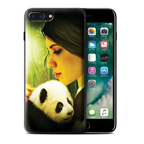 Officiel Elena Dudina Coque / Etui pour Apple iPhone 7 Plus / Endormi/Tigré Chat Design / Les Animaux Collection Petit Panda/Bambou