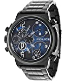Police Python Men's Quartz Watch with Blue Dial Analogue Display and Black Stainless Steel Plated Bracelet 13595JSB/03M
