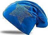 Jersey Baumwolle Elastisches Long Slouch Beanie Unisex Herren Damen mit Strass Stern Steinen Mütze Heather in 35 (2) (Royal Blue)