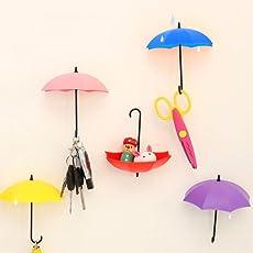 VR SHOPEE 3Piece Colorful Umbrella Wall Hook Key Glasses Wallet Hair Pin Holder Organizer Decorative Wall Decor Home Decoration