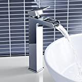 Tall Waterfall Counter Top Basin Mixer Tap Chrome Bathroom Sink Faucet