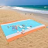 WolfWise 270 x 210 cm XXL Stranddecke, Waschbare Picknickdecke Campingdecke aus Weiches Nylon Wasserdicht Sandfrei Schnell Trocknend mit 4 Pfähle Tragbar, Orange