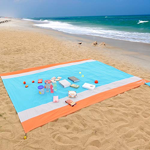 WolfWise 270 x 210 cm XXL Tappetino da Spiaggia, Extra Large Waterproof Tovaglia Tascabile...