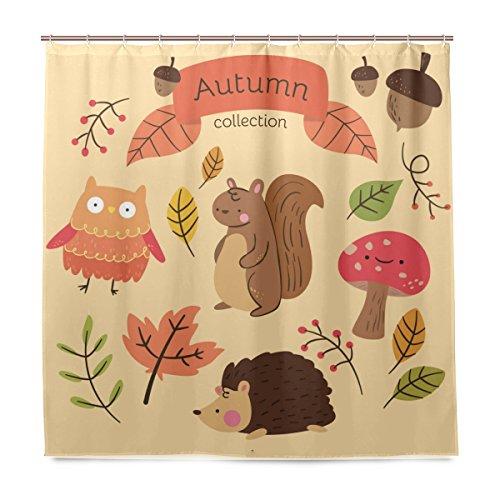 senwei Animals Cortina de ducha cortina de baño Otoño Squirrel erizo 60x72 inch/66x72 inch/72x72 pulgadas tela de poliéster para decoración de baño, Tejido de poliéster, Multicolor, 72x72 Inch