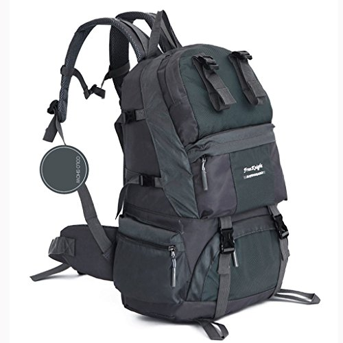 50L gli appassionati di outdoor in nylon impermeabile trekking sacchetto di grande capacità zaino sport all'aria aperta grigio