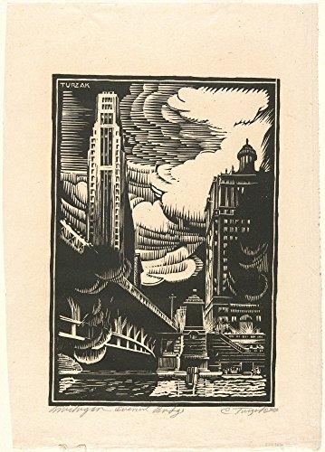 Das Museum Outlet-Michigan Avenue Brücke,, 1930er Poster Print Online kaufen (76,2x 101,6cm)