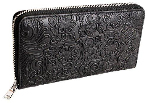 HAROLD'S Exclusive Schwarze Designer Damen Echt-Leder Geldbörse aus Hoch-Tief geprägtem Leder mit umlaufendem Reißverschluss Schwarz (5553)
