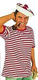 KARNEVALS-GIGANT Ringel-Shirt mit kurzem Arm in rot-weiß | Größe XS | Piraten T-Shirt ( gewirkte Ware )