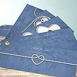 Hochzeitseinladungen drucken, Starke Verbindung 200 Karten, Kartenfächer 210x80 inkl. weißer Umschläge, Blau
